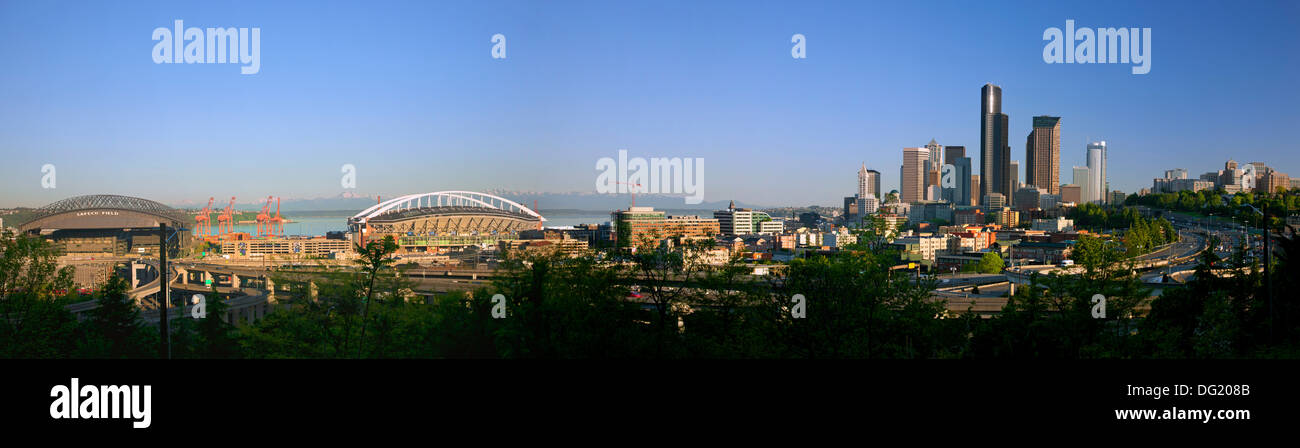 Panoramic view of the south side of downtown Seattle including Safeco Field and  Century Link Field on Elliot Bay  and I-5. - Stock Image