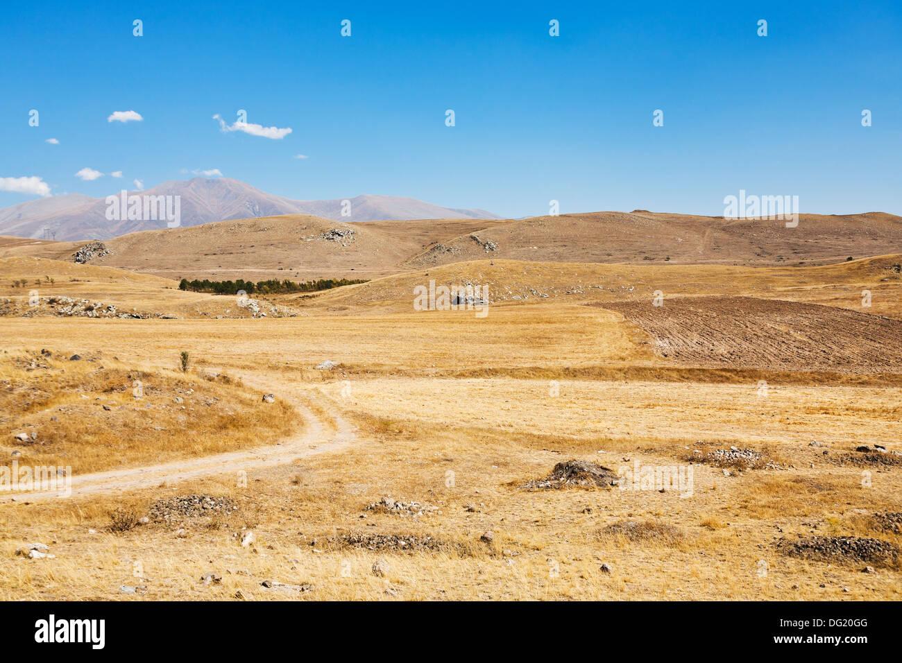 mountail plateau landscape near Sisian town in Armenia in autumn day - Stock Image