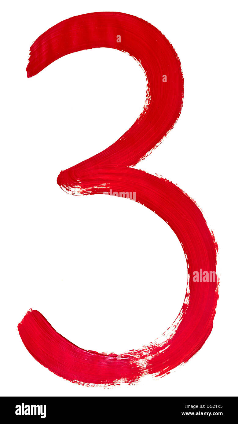 Arabic numeral 3 hand written by red brush on white background - Stock Image