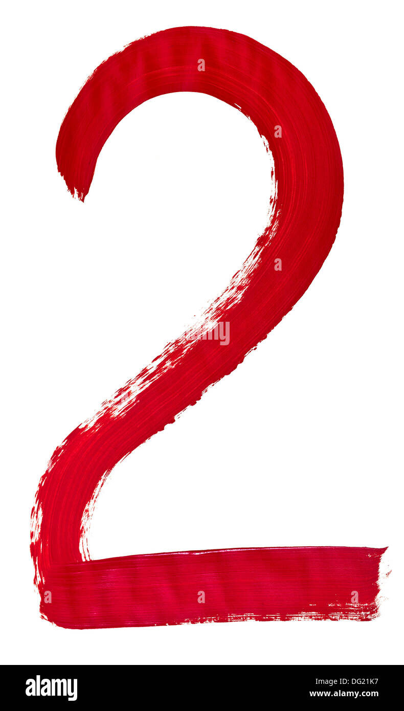 Arabic numeral 2 hand written by red brush on white background - Stock Image
