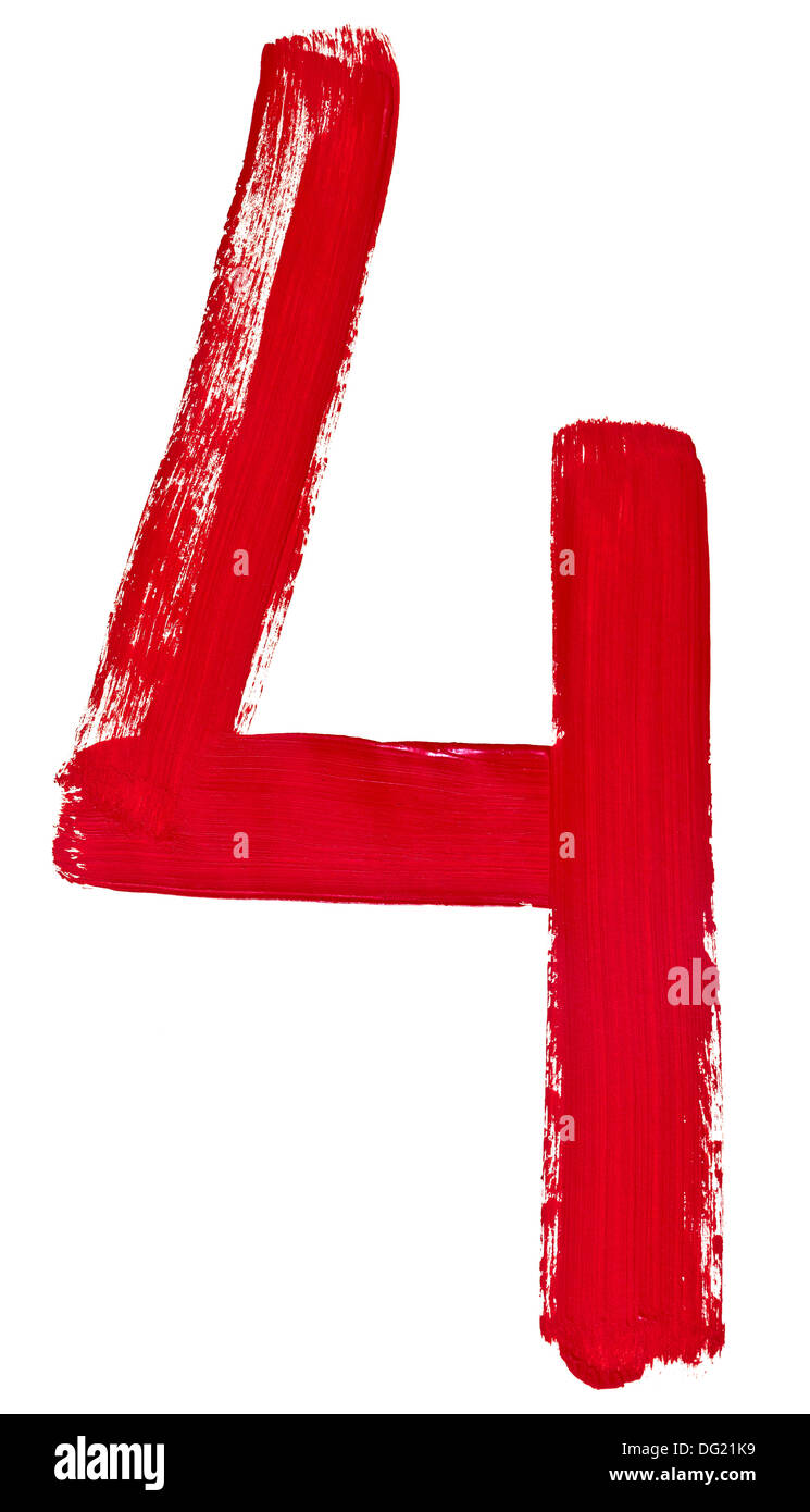 Arabic numeral 4 hand written by red brush on white background - Stock Image