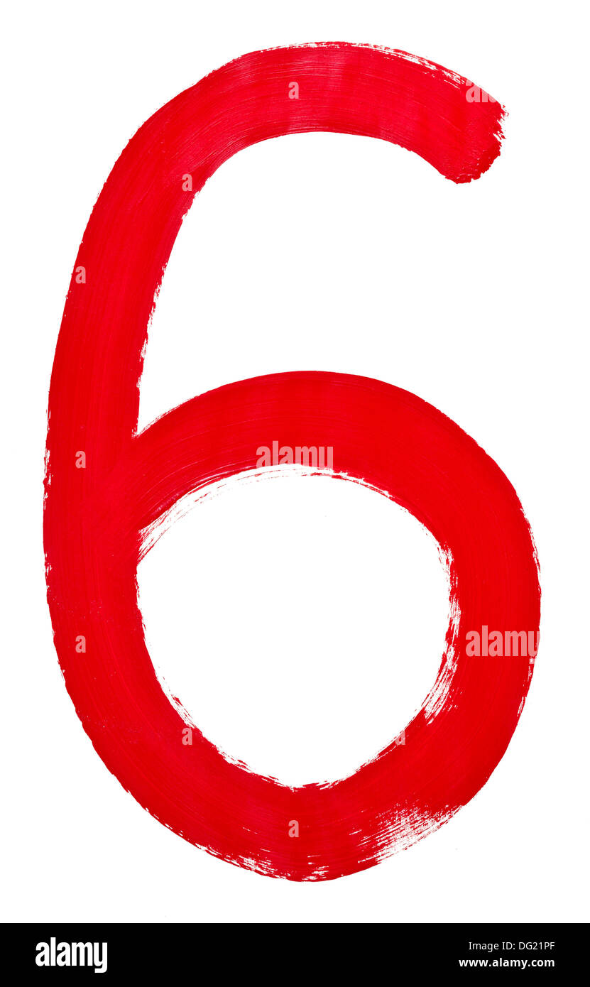 Arabic numeral 6 hand written by red brush on white background - Stock Image