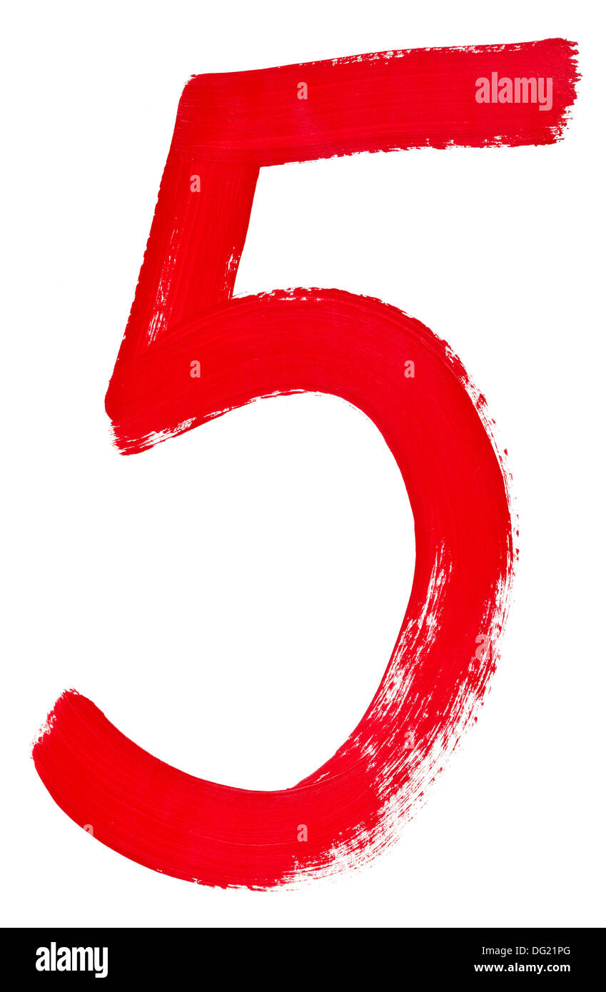 Arabic numeral 5 hand written by red brush on white background - Stock Image