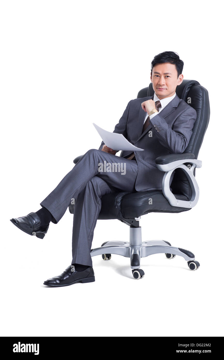 Mature manager with document - Stock Image