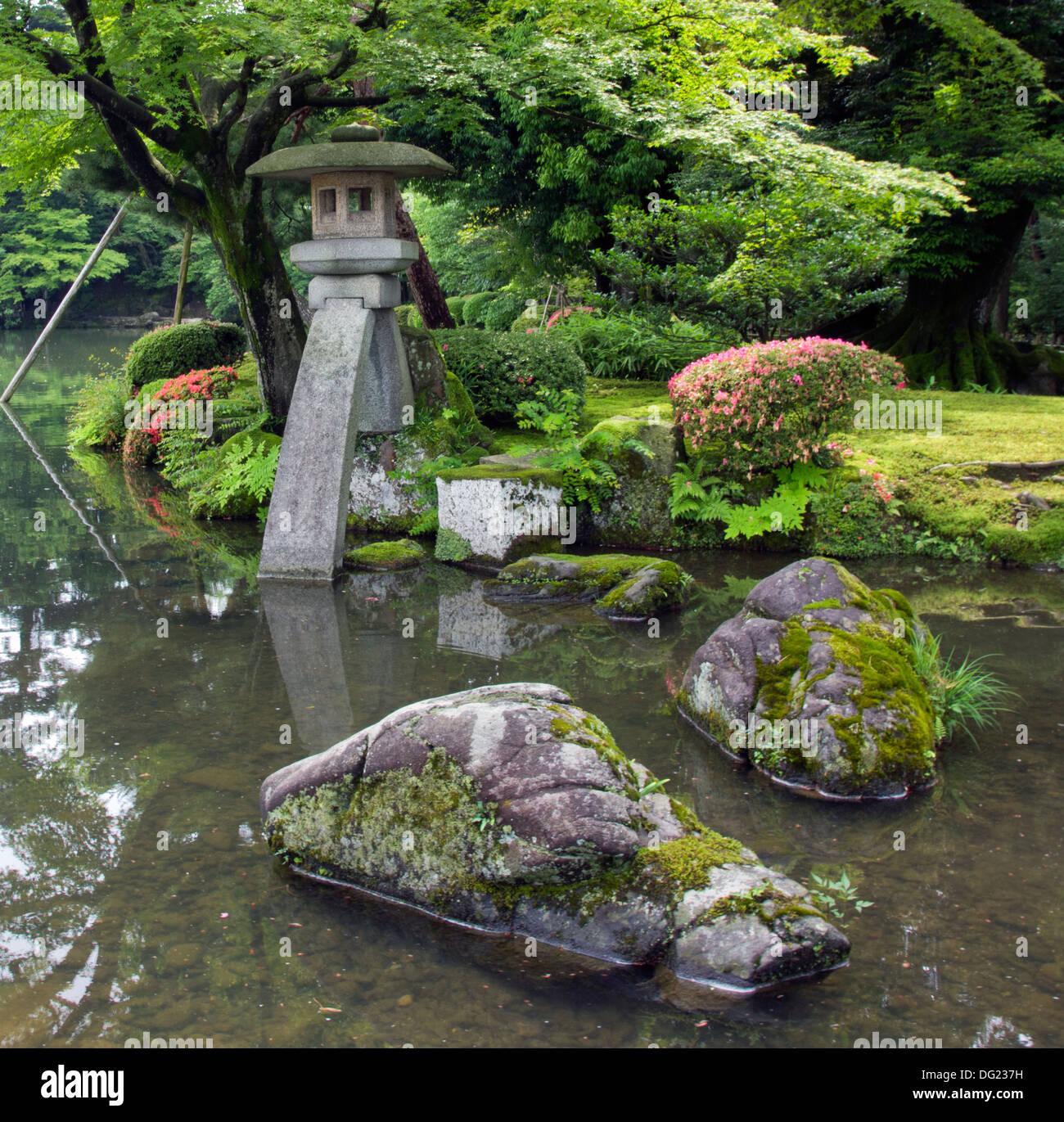 A Fragment Of Japanese Garden   Big Rocks And Stone Lantern ...