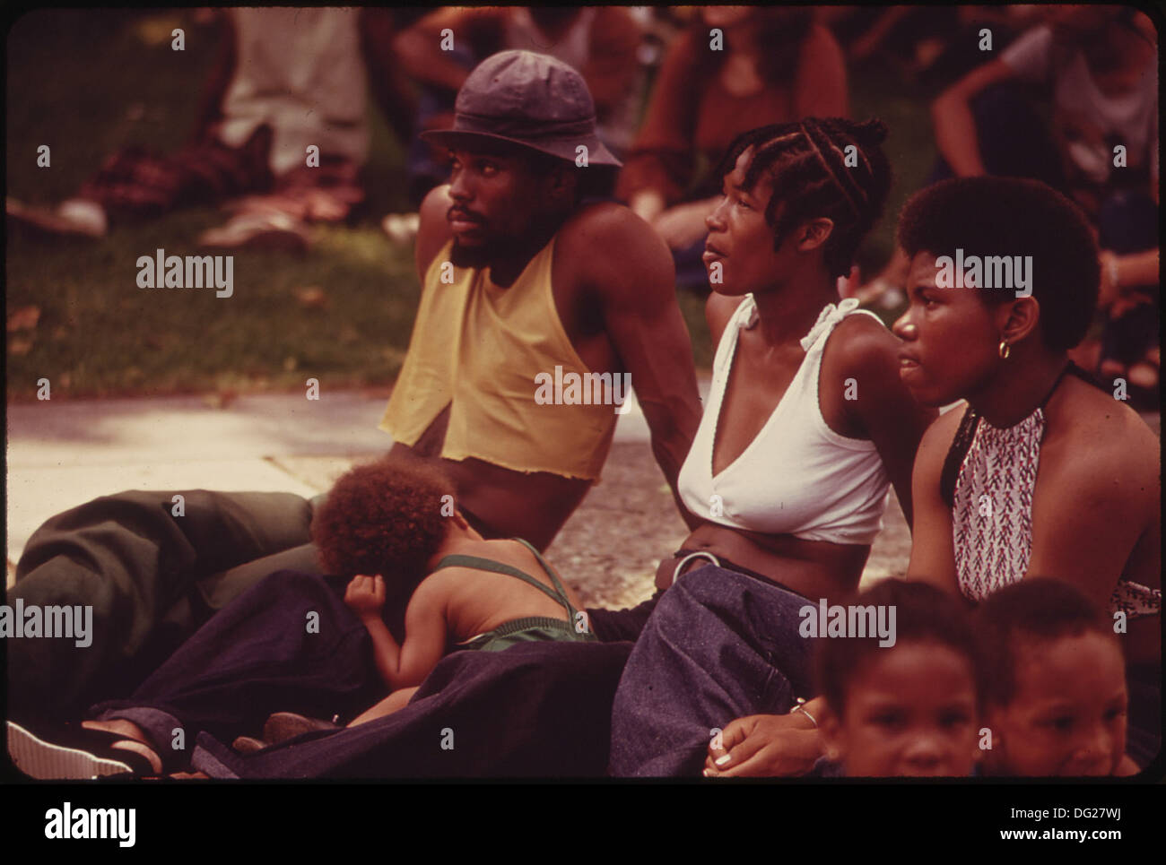 WEST VIRGINIA CELEBRATED ITS 110TH BIRTHDAY IN 1973 WITH ROCK CONCERTS ON THE STEPS OF THE STATE CAPITOL. WEST... Stock Photo