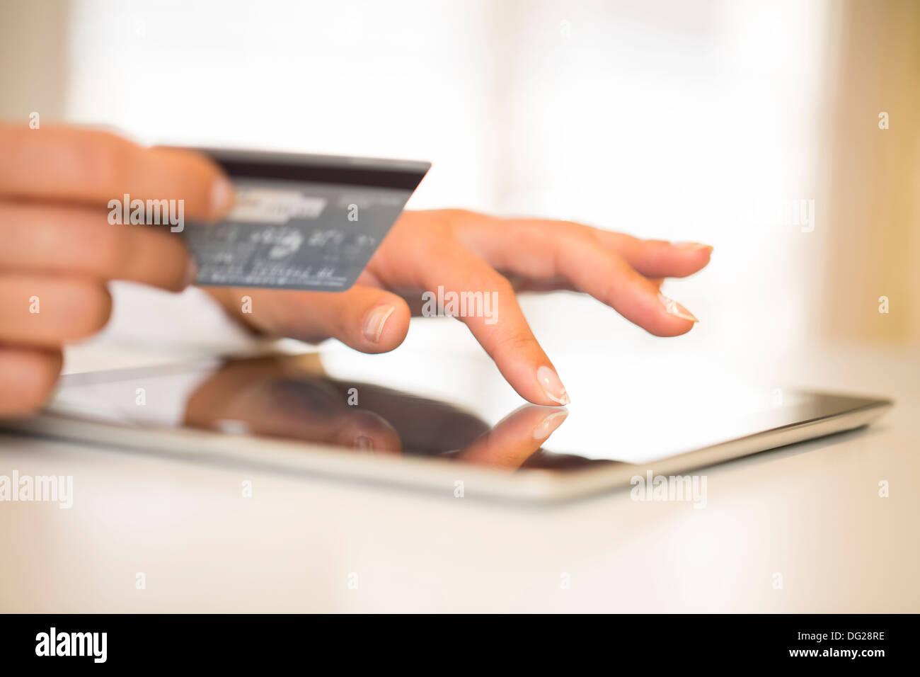 Female computer finger indoor web - Stock Image