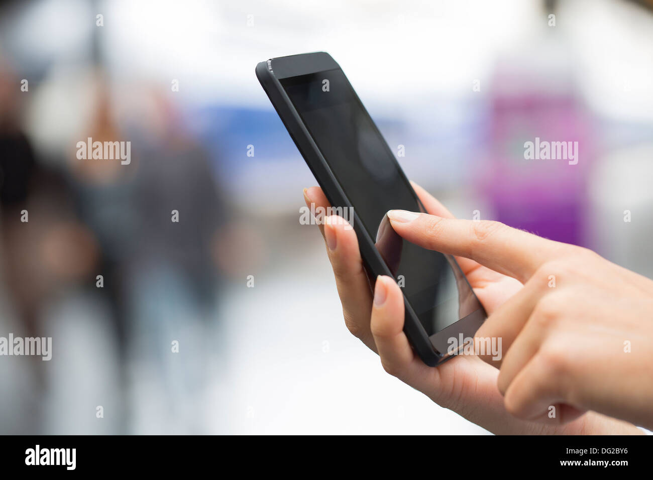 Female mobile train phone tgv message sms - Stock Image