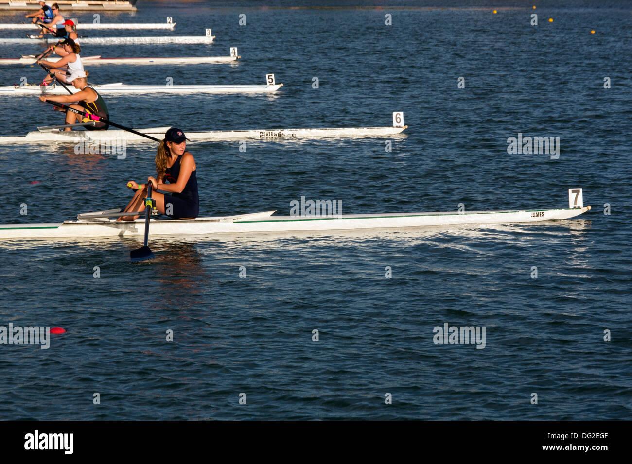 single women's rowing regatta start of the race - Stock Image