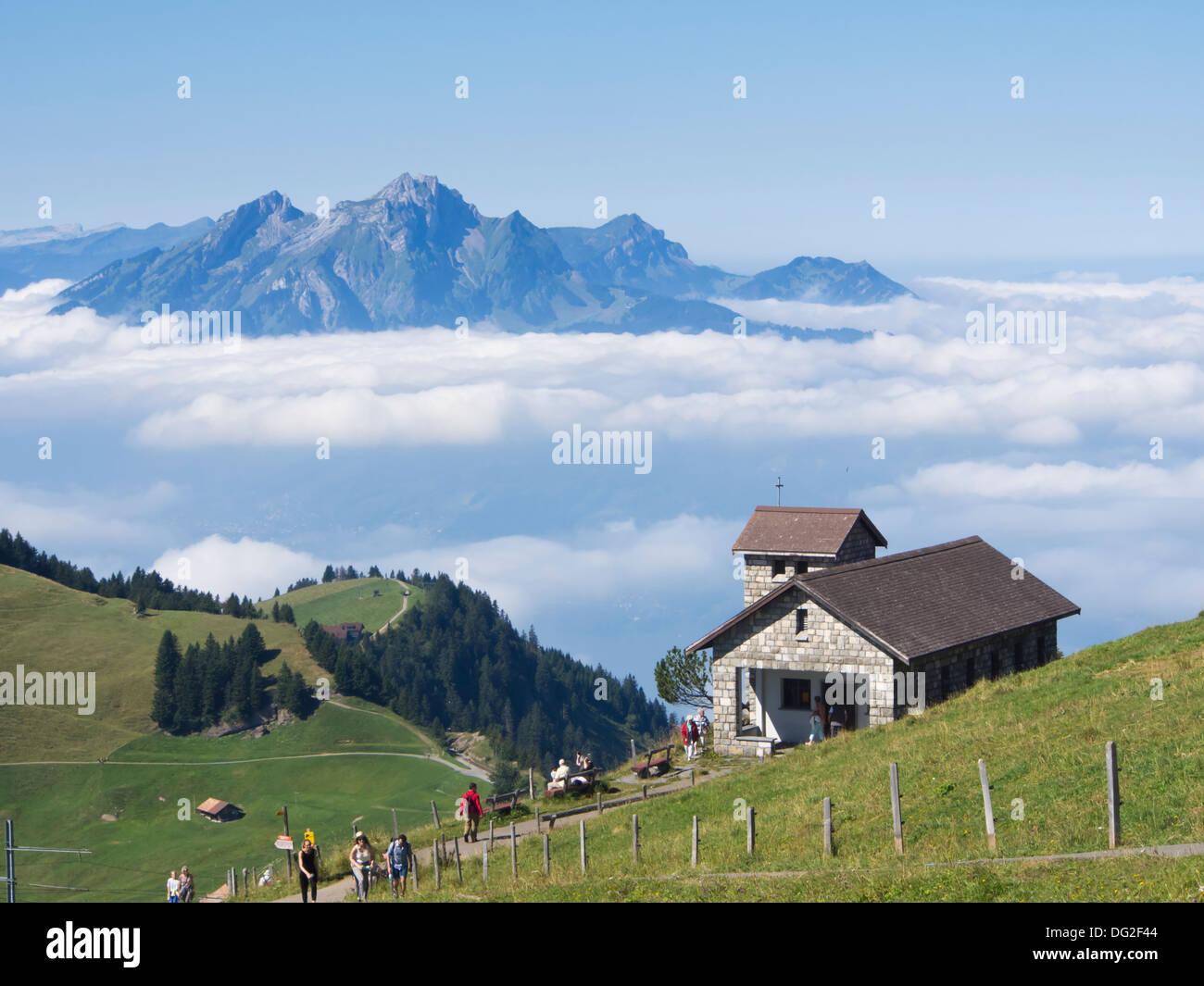 panorama view from the top of mount rigi kulm switzerland lake