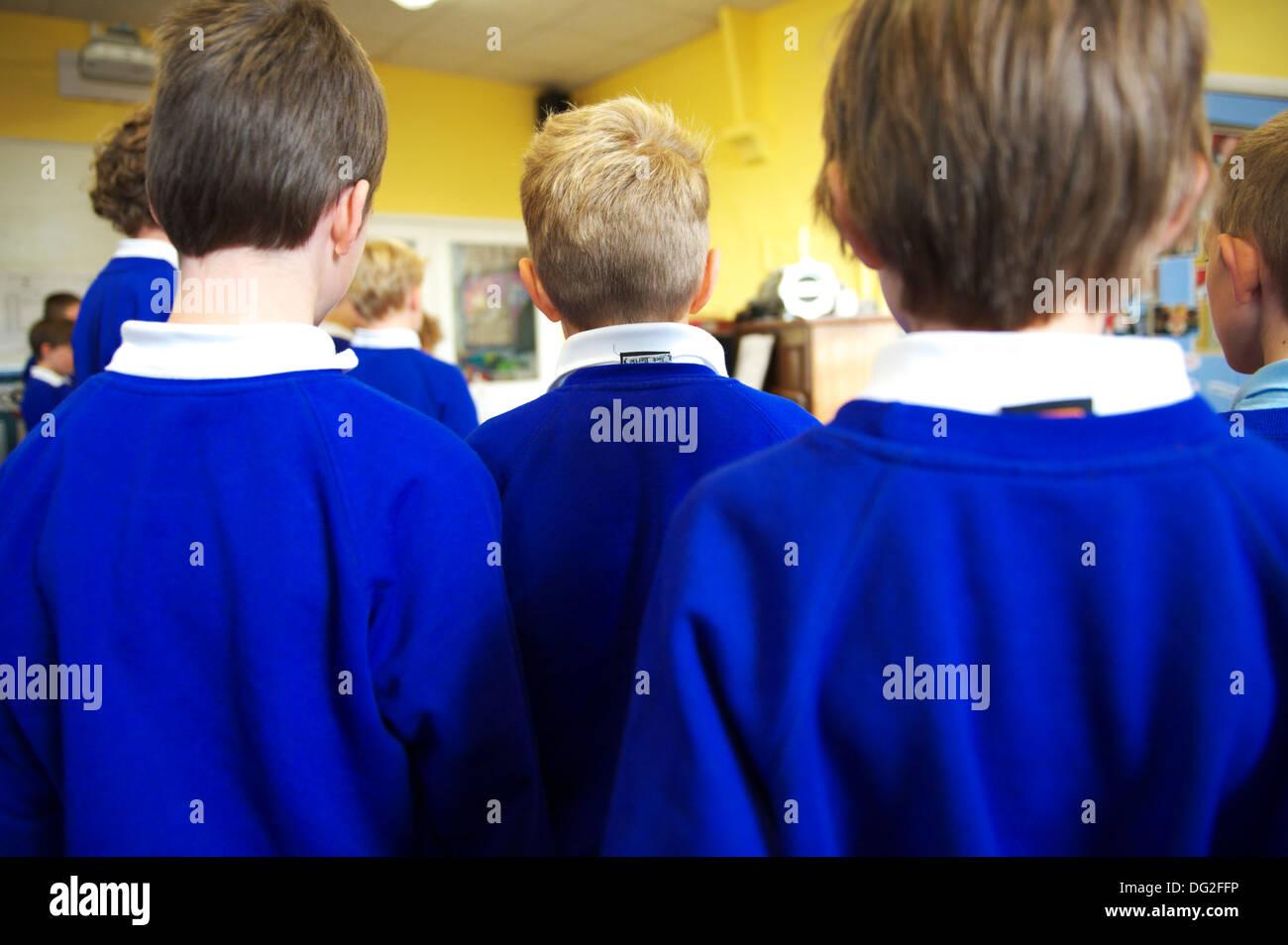 School Children in a small English primary school - Stock Image