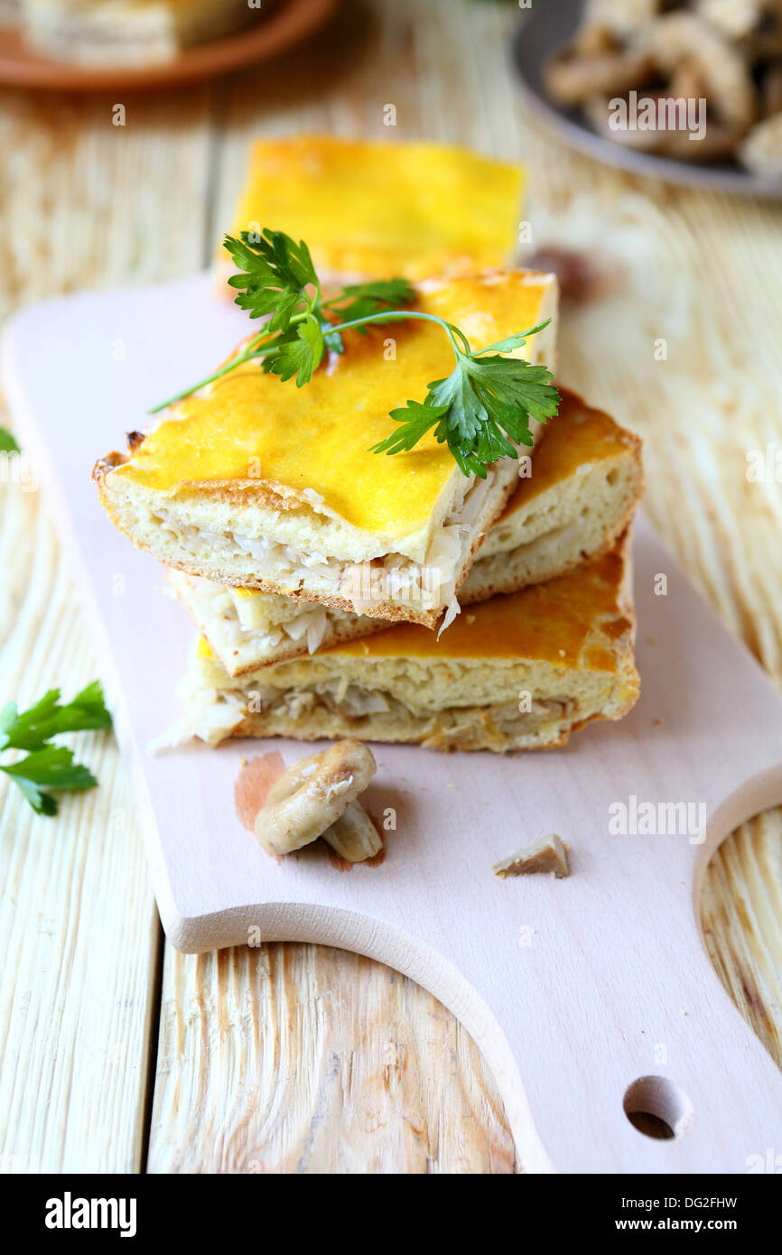 pie with cabbage and mushrooms, food close up - Stock Image