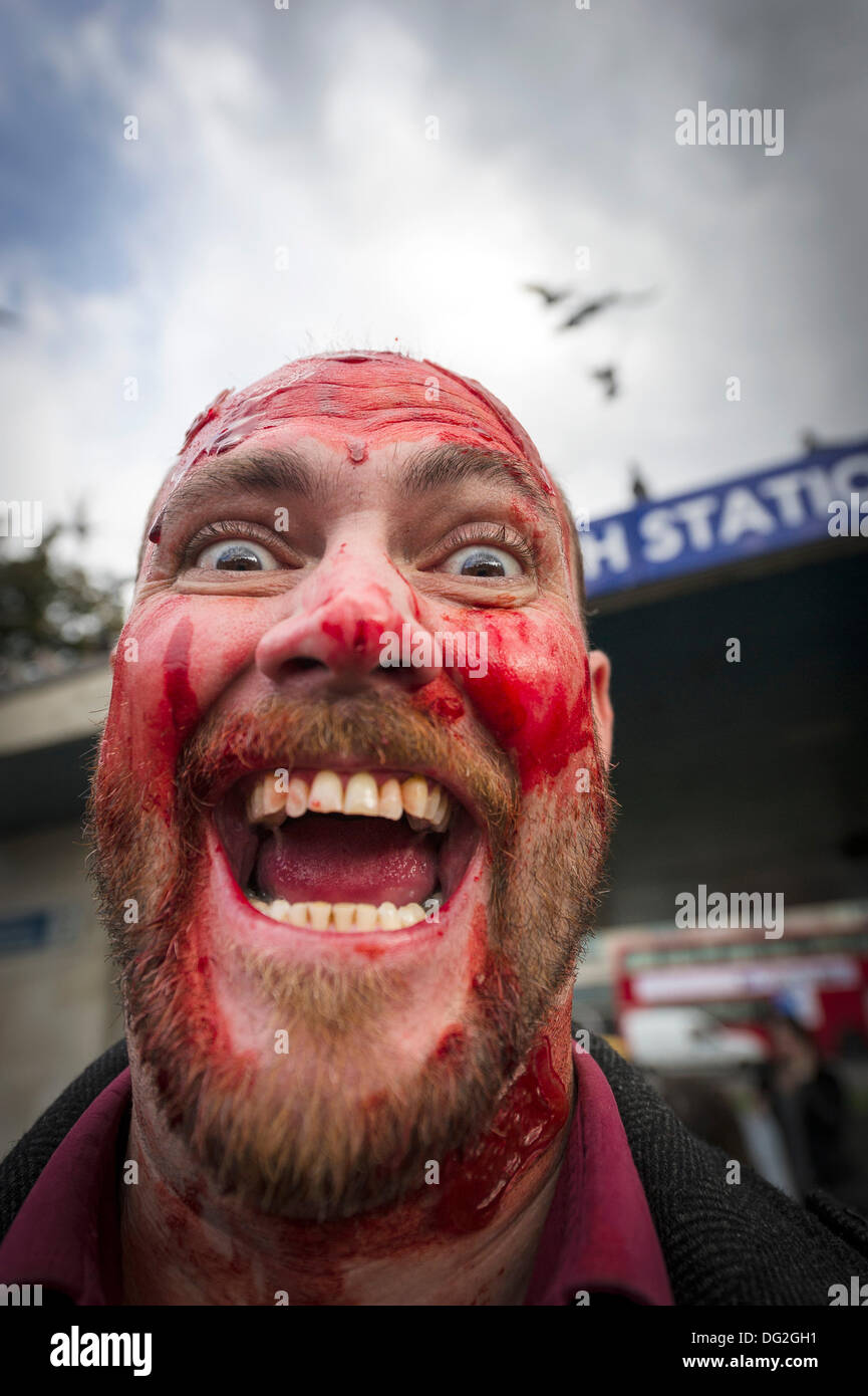 October 12th 2013 A portrait of a participant in the annual Zombie Invasion of London.  Photographer: Gordon Scammell/Alamy Live News - Stock Image