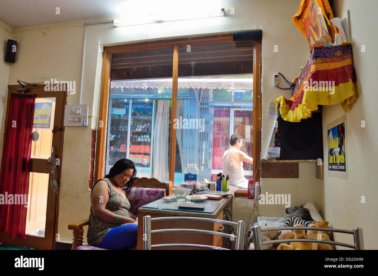 Tibetan Cafe And Living Room In Majnu Ka Tilla Refugee Colony, Delhi, India