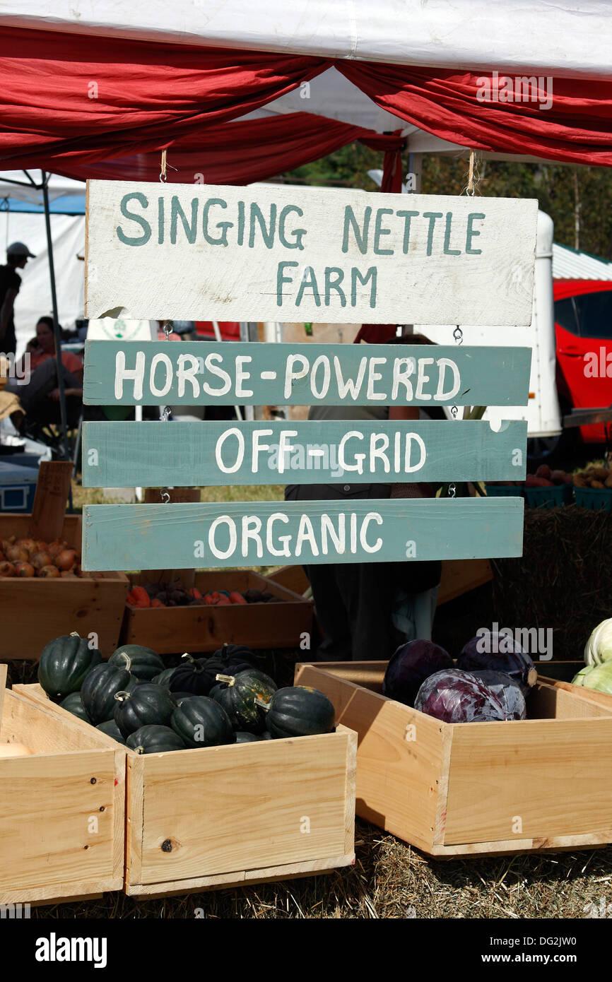 Organic vegetables for sale Common Ground Fair Maine Coast New England USA - Stock Image
