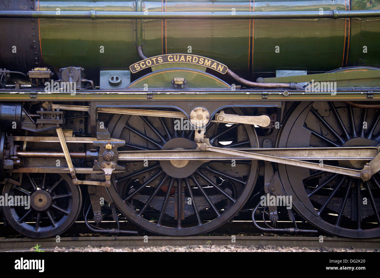 'Scots Guardsman' name plate and wheels. Carlisle Railway Station with a special charter train. Carlisle Cumbria England. - Stock Image