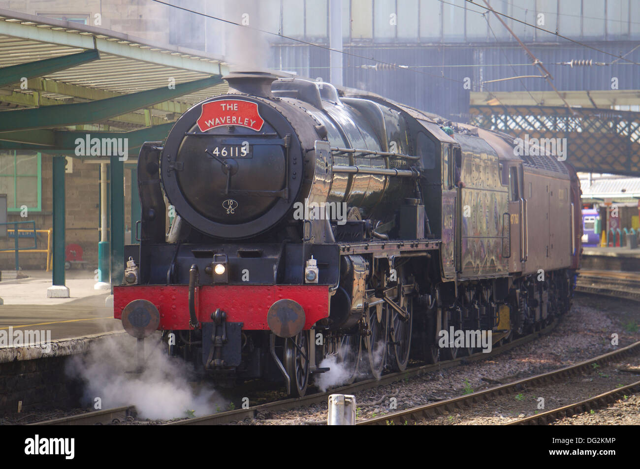 Steam locomotive 'Scots Guardsman' 46115 in Carlisle Railway Station with a special charter train. Carlisle Cumbria Stock Photo