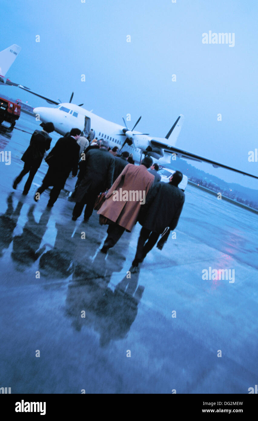 Aircraft passengers boarding at Sondika airport. Biscay. Spain - Stock Image