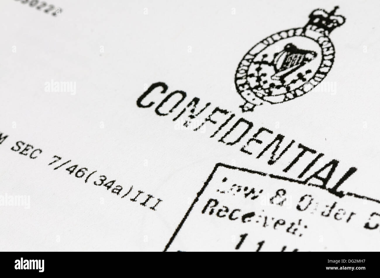 'Confidential' police document from the Royal Ulster Constabularly - Stock Image