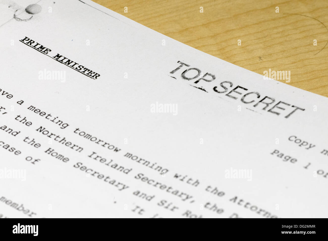 'Top Secret' document to the Prime Minister relating to a meeting with the Northern Ireland and Home Secretaries - Stock Image