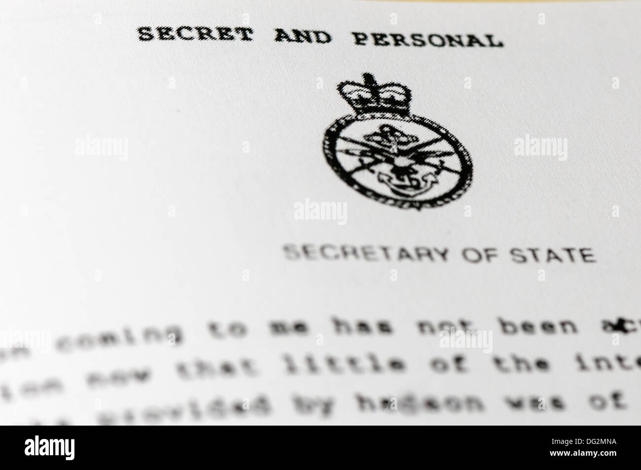 'Secret and Personal' document from the Secretary of State - Stock Image
