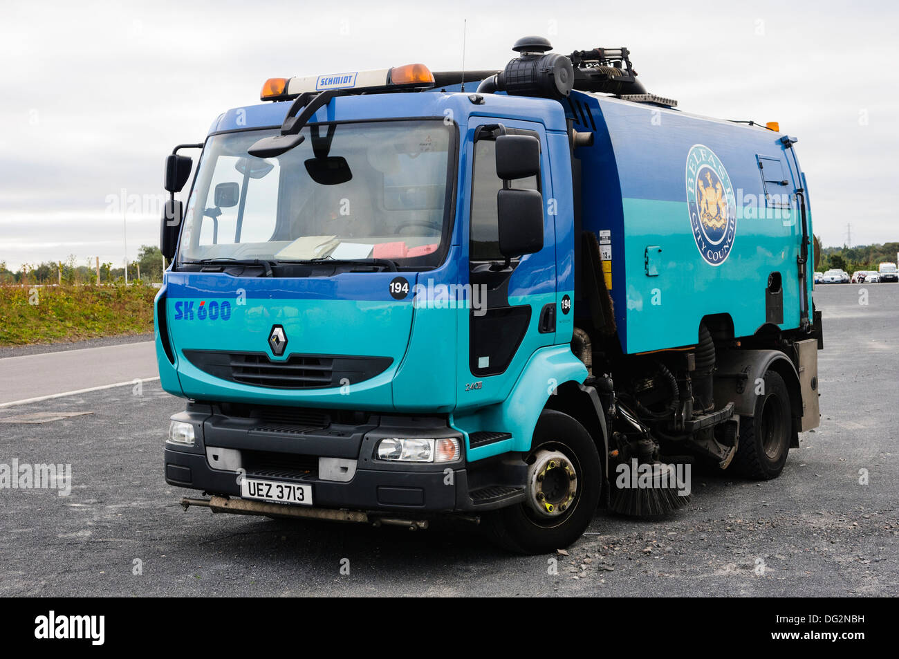 Schmidt SK600 road sweeper on a Renault 240 rigid body owned by Belfast City Council - Stock Image