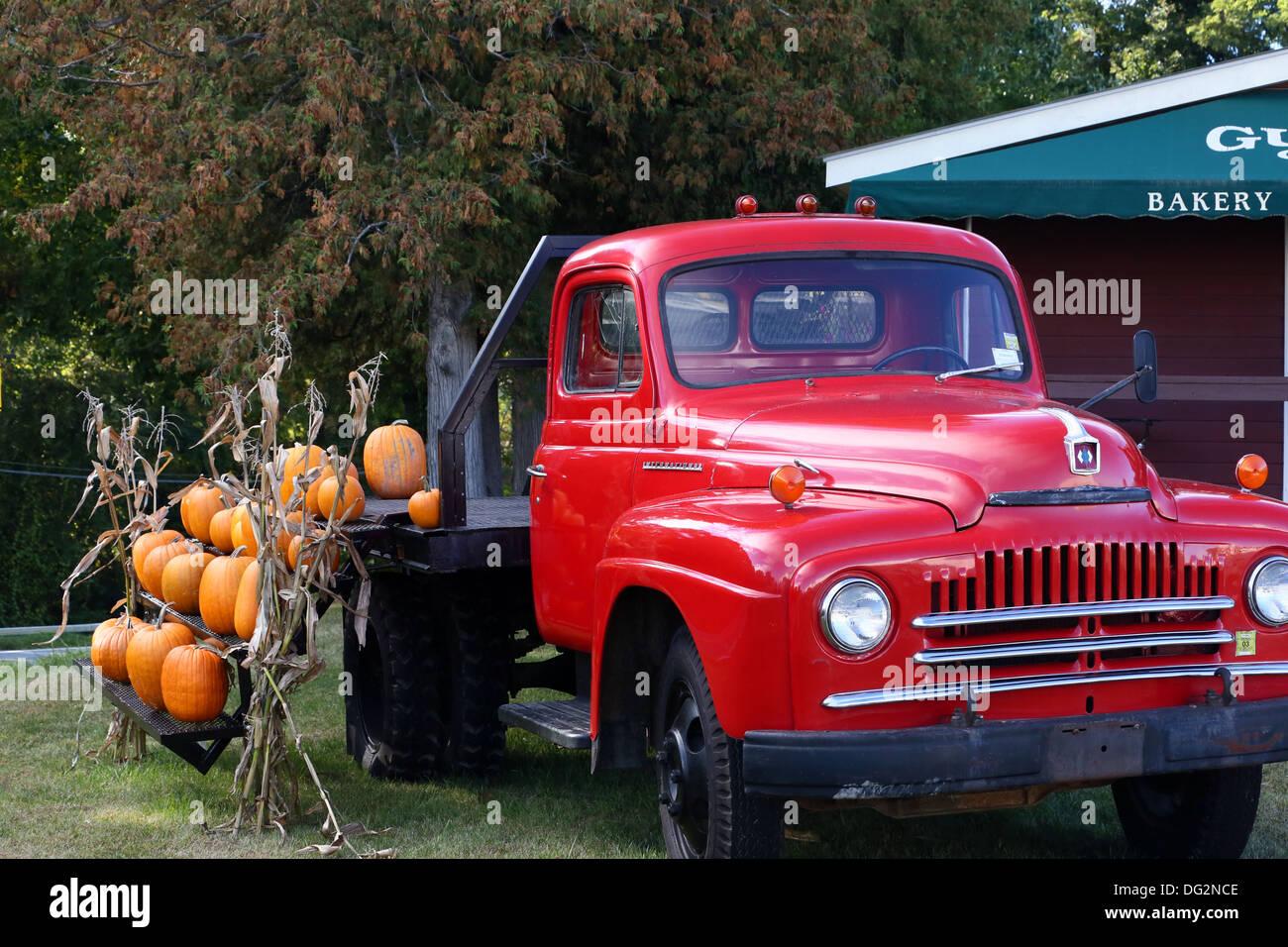Vintage red International Harvester truck used as display Stock ...
