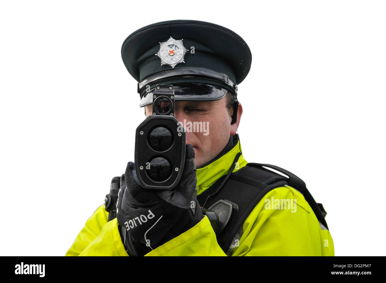 Police officer uses a Laser Technology Inc UltraLyte laser speed detector gun (front on, cutout) - Stock Image