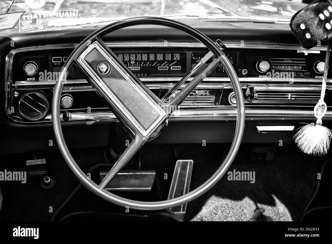 Cab full-size car Buick Le Sabre Custom 1967, Cabrio, (black and white) - Stock Image