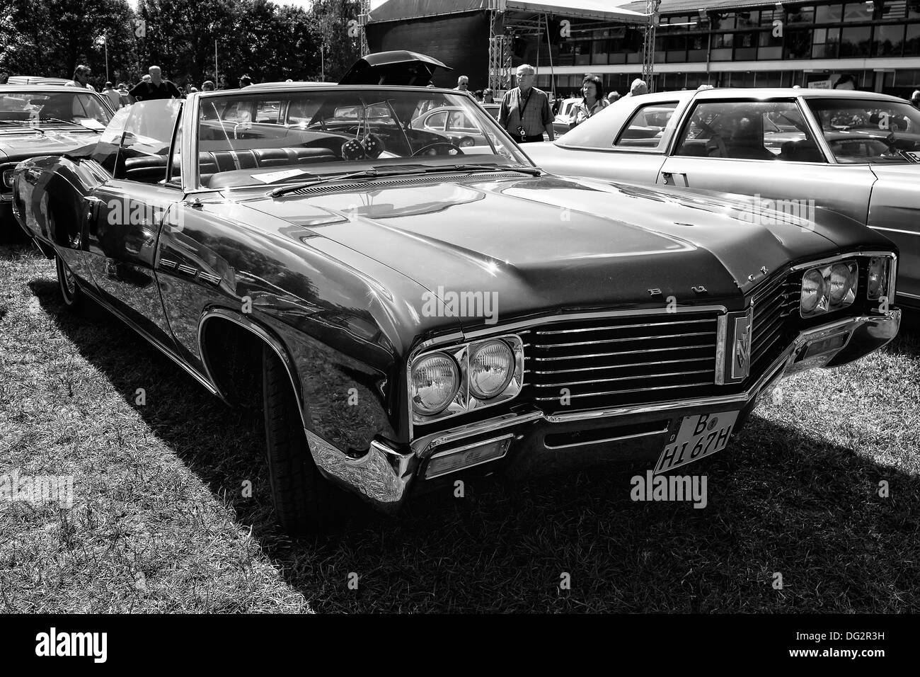 Full-size car Buick Le Sabre Custom 1967, Cabrio, (black and white) - Stock Image
