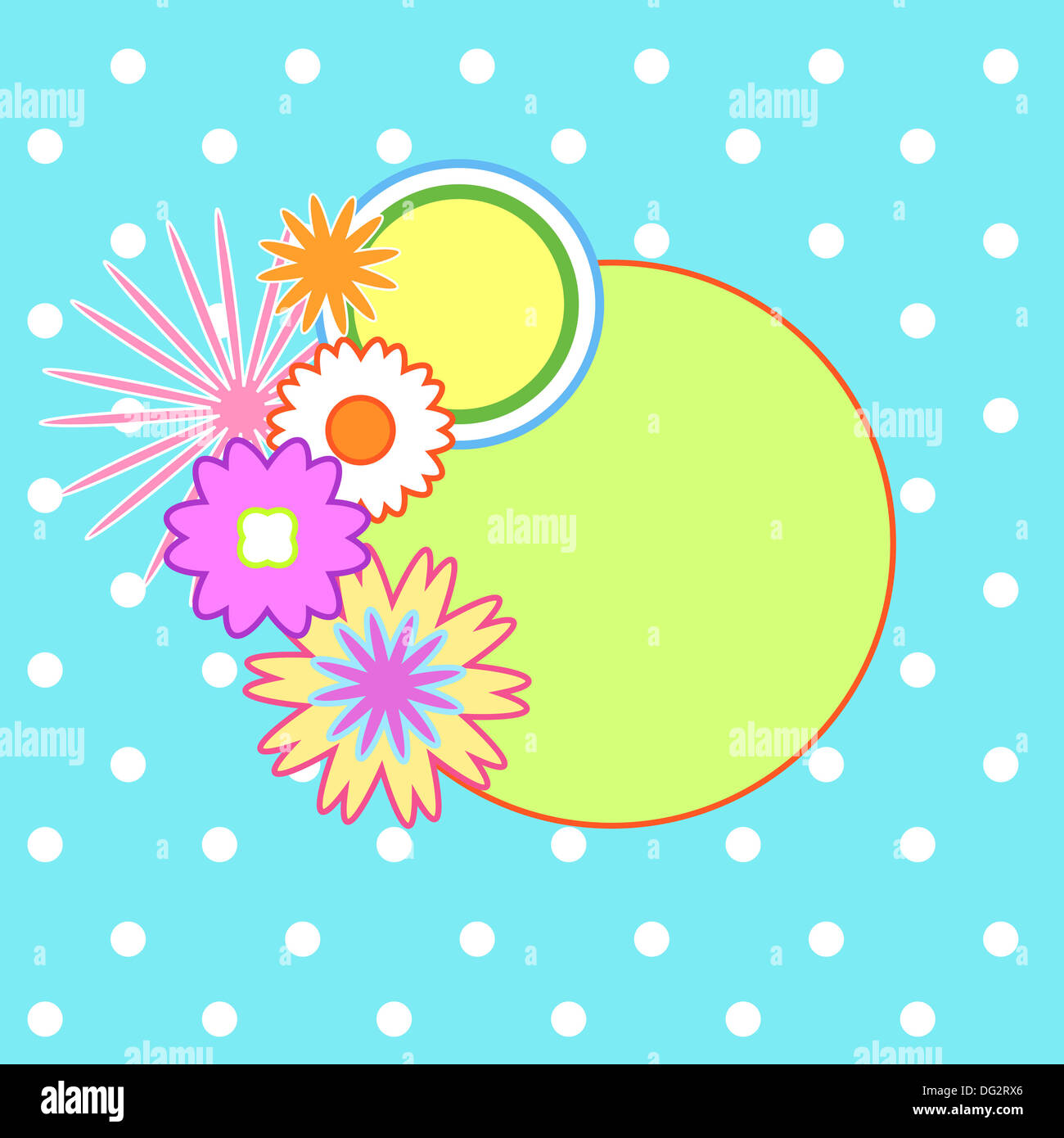Colorful floral frame on polka dots Stock Photo