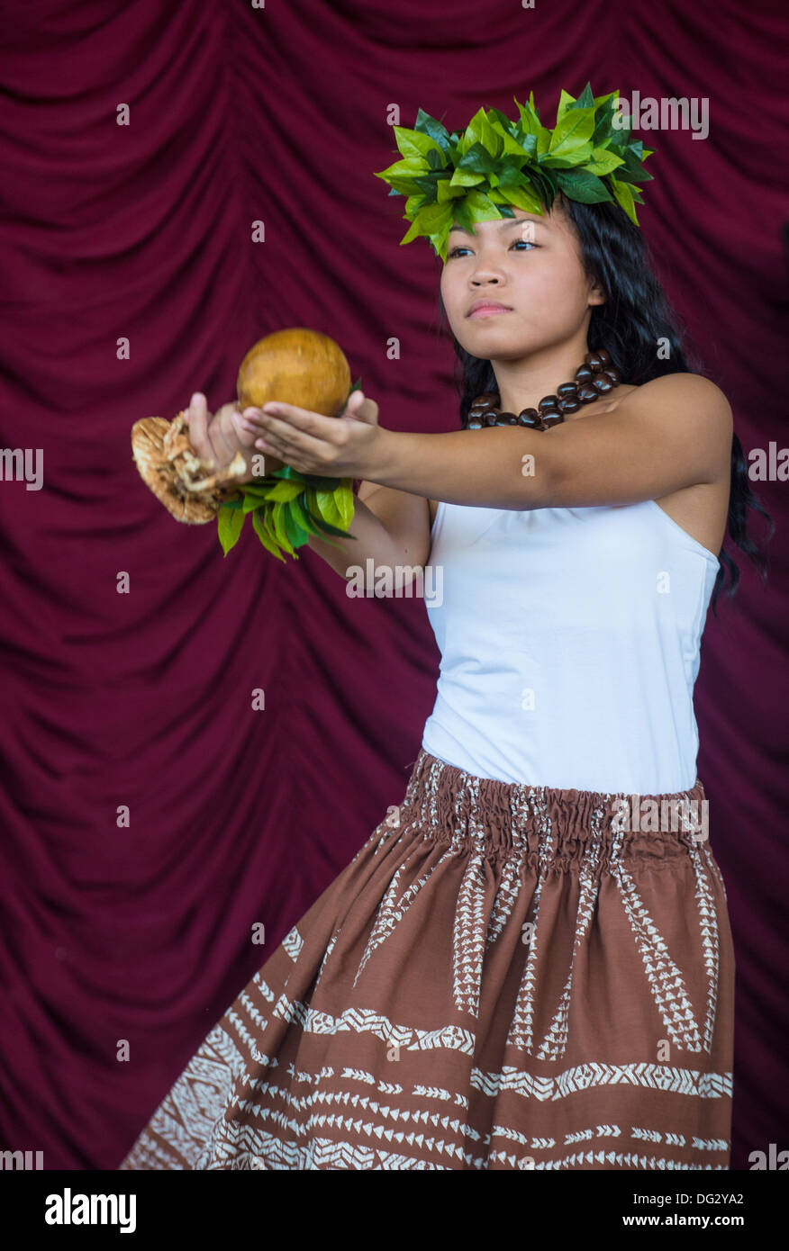 Dancer with traditional dress performs Hawaiian dance in the 23rd Annual Hoolaulea Pacific Islands Festival in Henderson Nevada - Stock Image