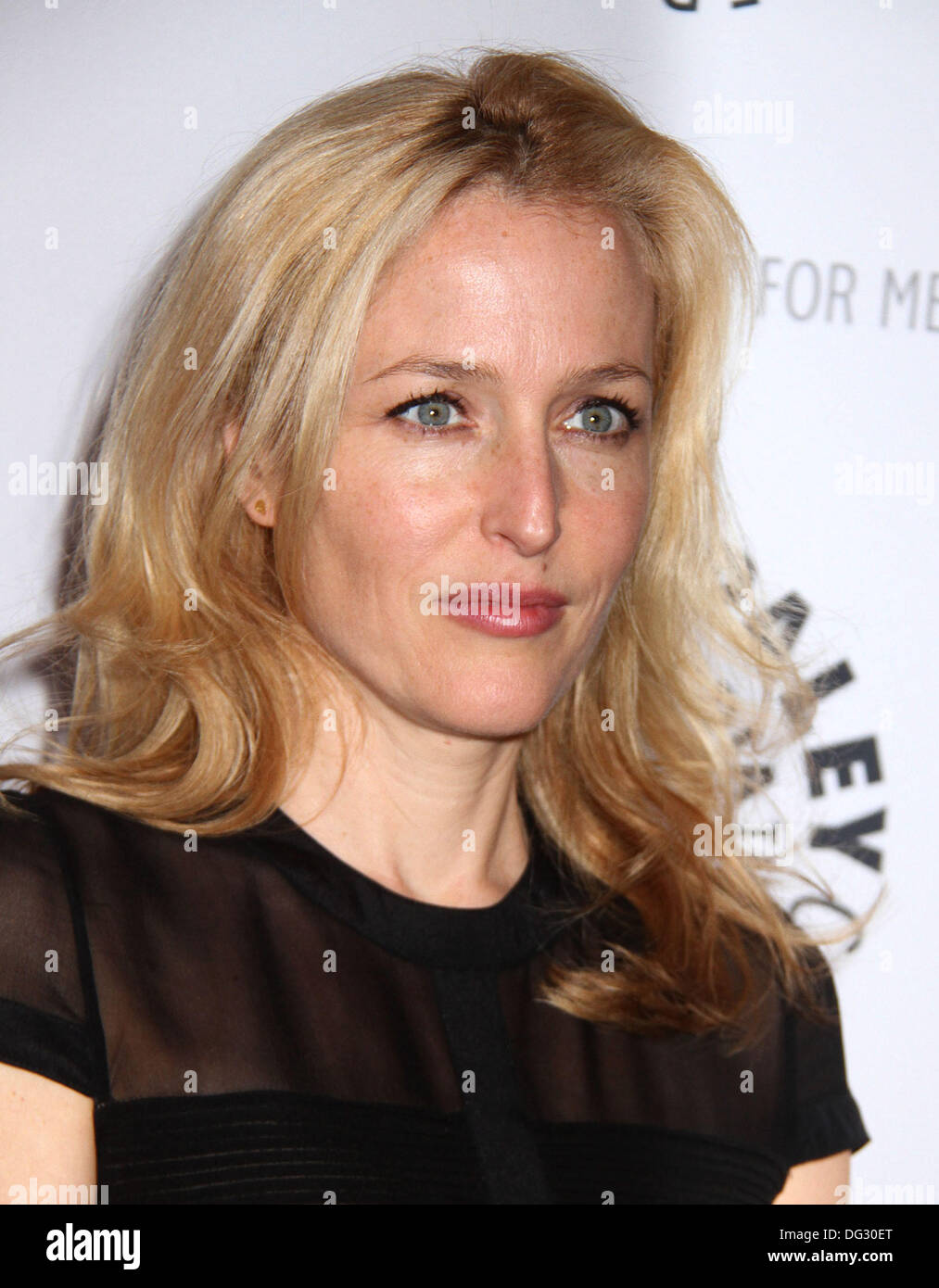 New York, USA. 12th Oct, 2013. Actress GILLIAN ANDERSON attends 'The Truth is Here' X Files Panel Discussion held at the Paley Center. © Nancy Kaszerman/ZUMAPRESS.com/Alamy Live News - Stock Image