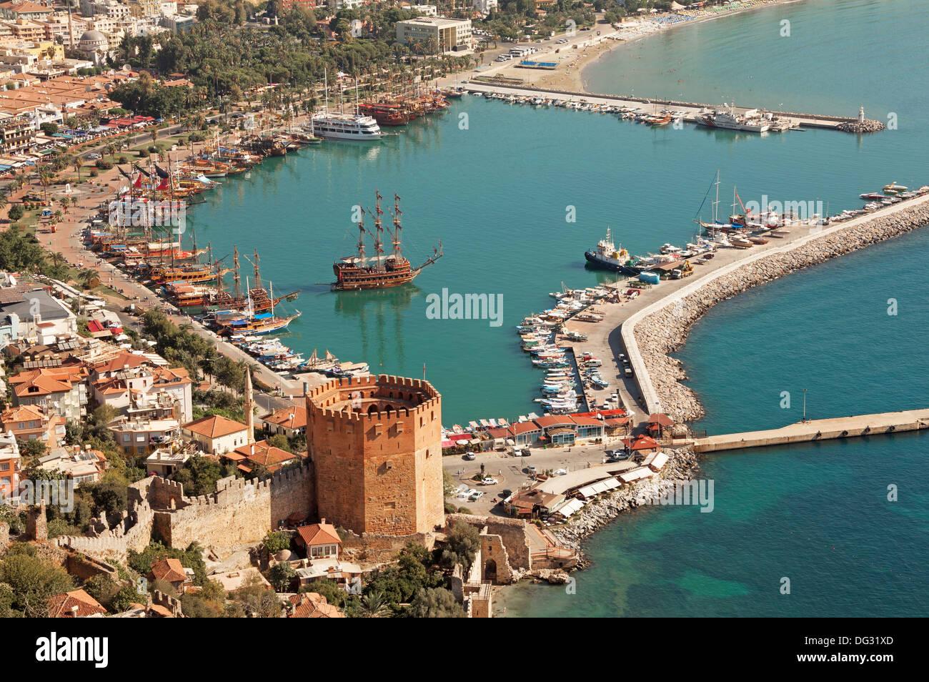 Alanya harbor and Kizil Kule tower. Turkey. - Stock Image