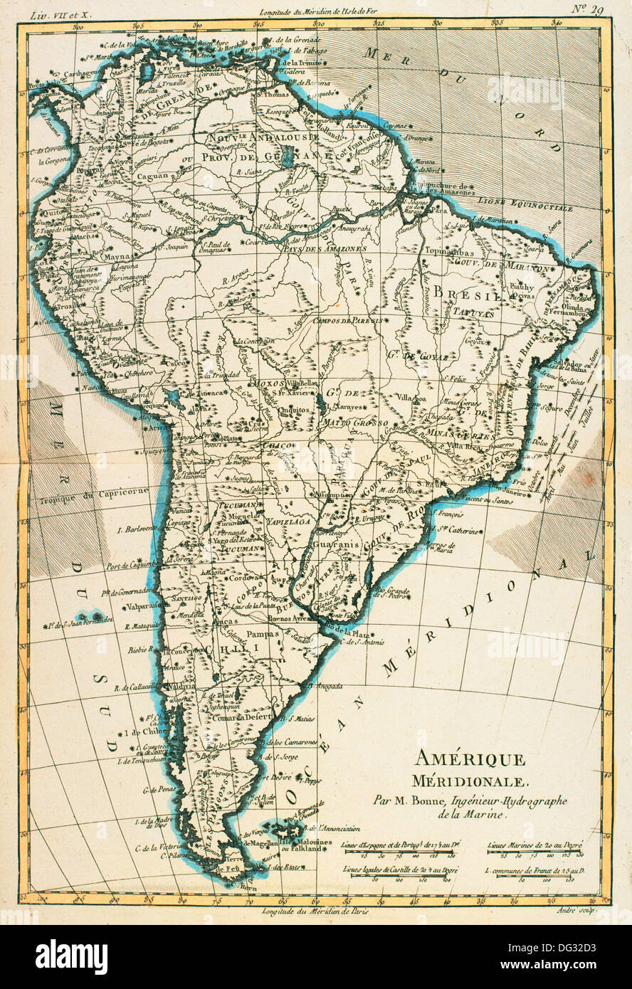 Map of South America circa 1760.  From Atlas de Toutes Les Parties Connues du Globe Terrestre by Cartographer Rigobert Bonne. - Stock Image