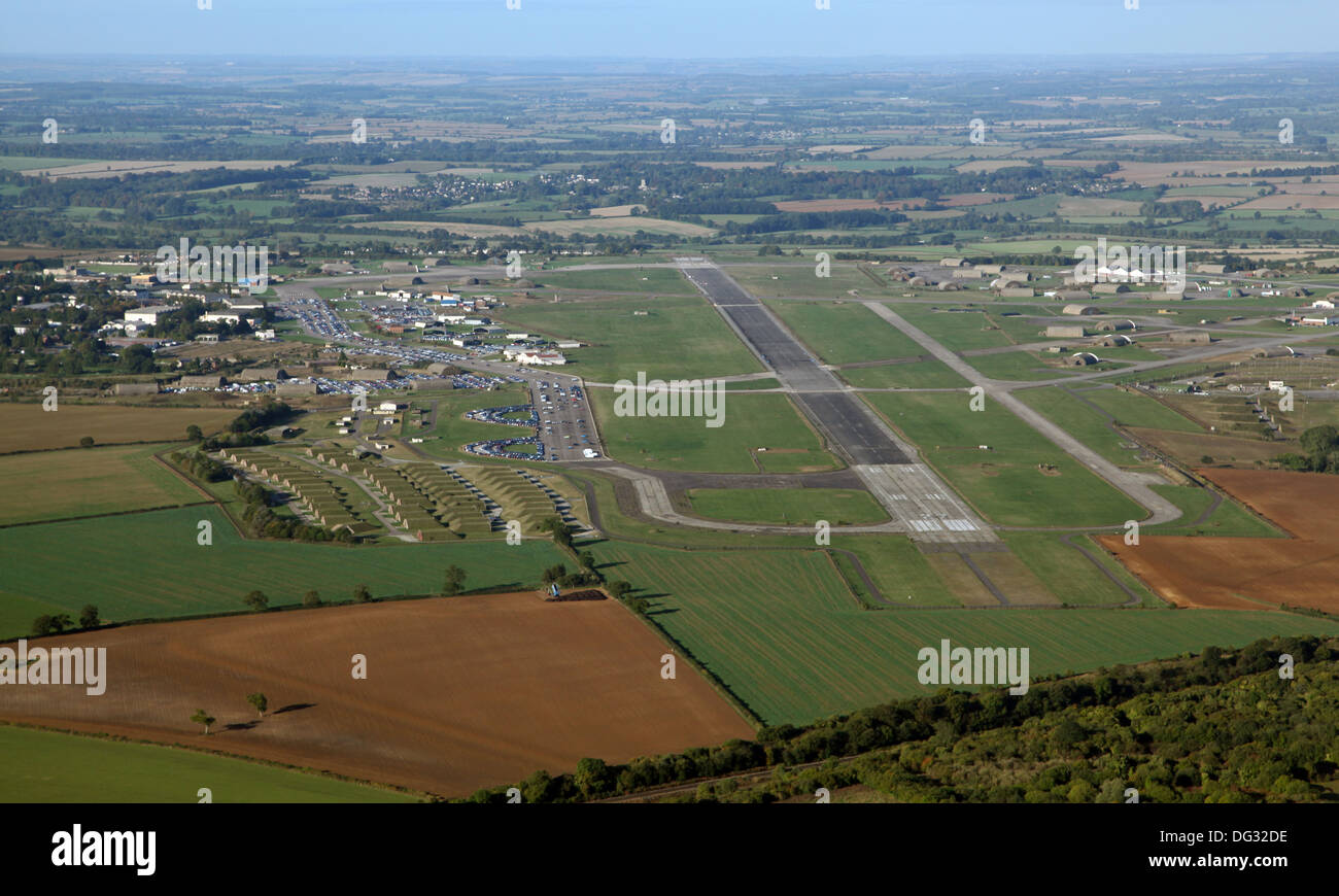 aerial view of Upper Heyford USAF in Oxfordshire, airfield airport - Stock Image