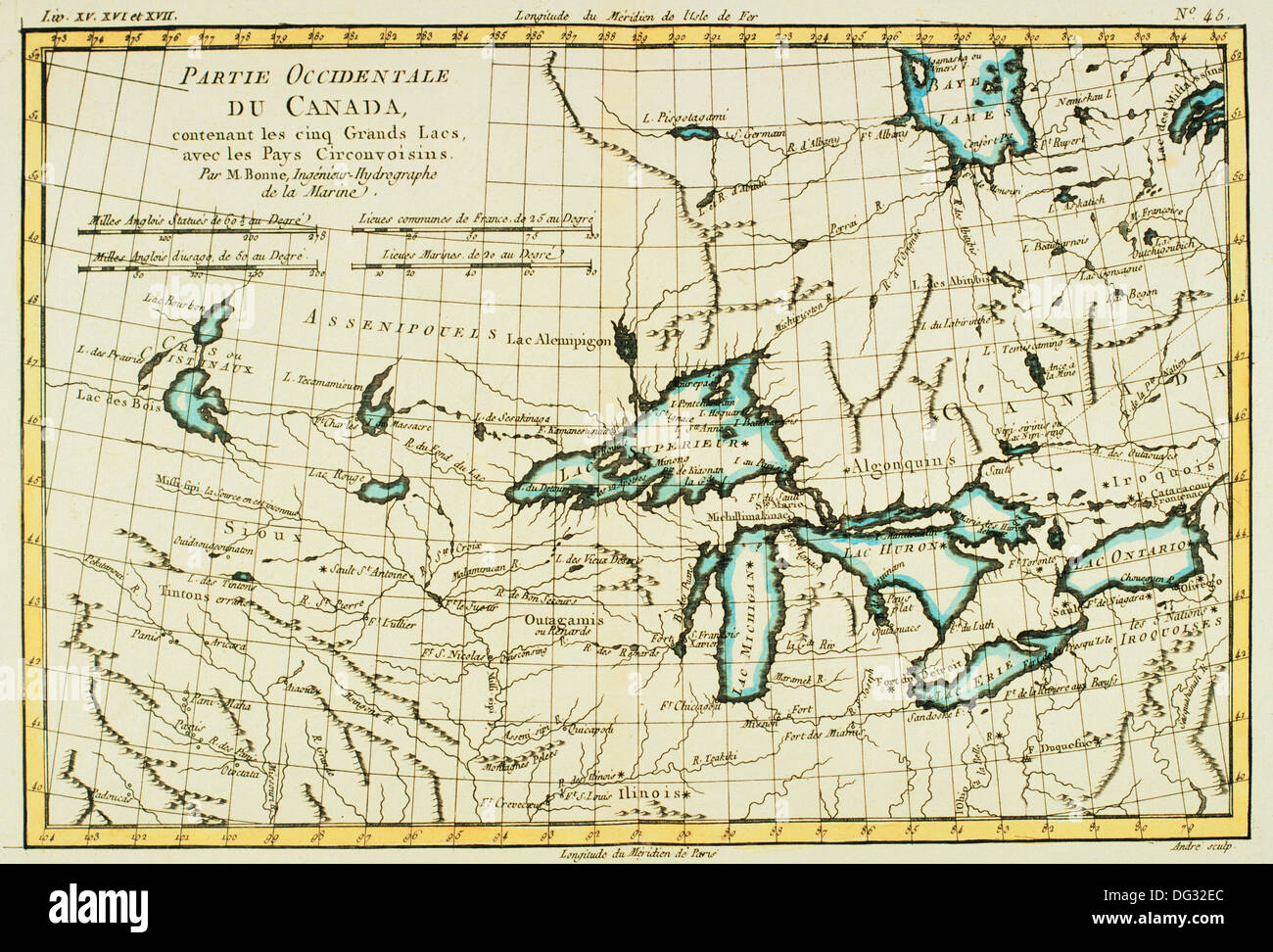 canada great lakes 18th century map