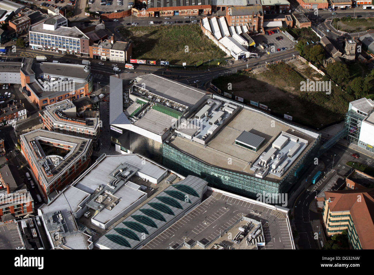 aerial view of Showcase Leicester Cinema de Lux - Stock Image