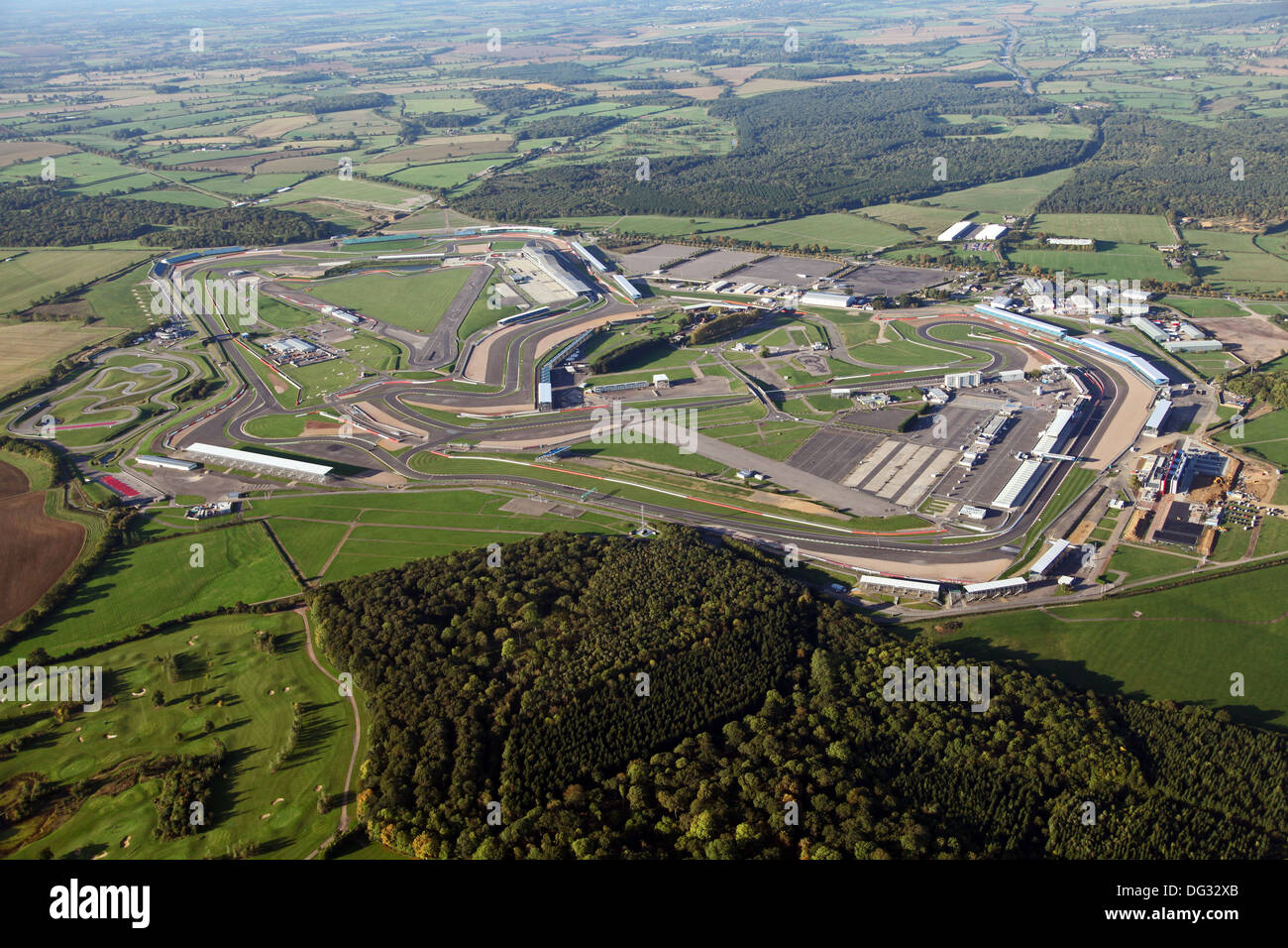 aerial view of Silverstone race track circuit in Northamptonshire ...