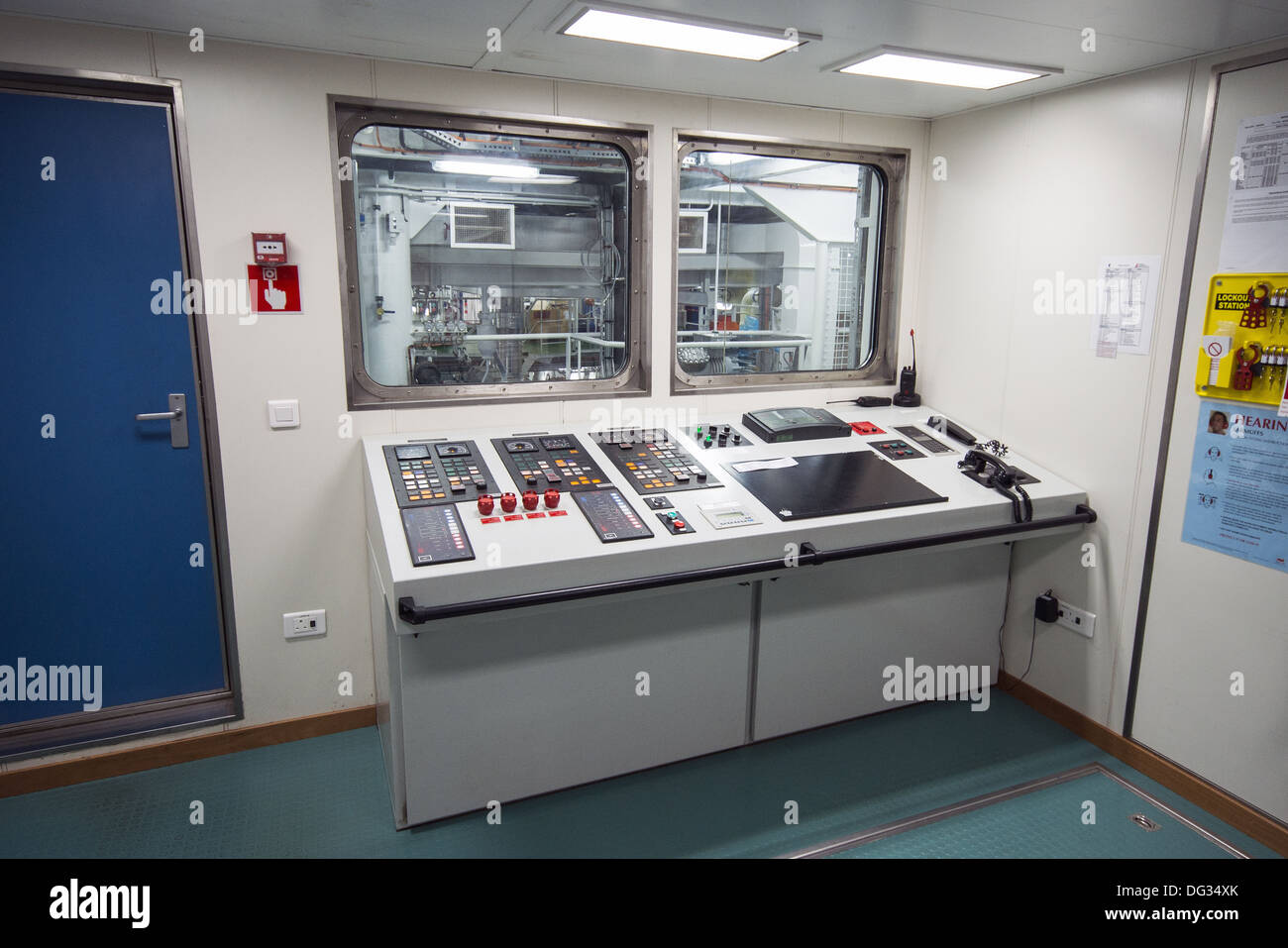 The engine control room on the RRS Discovery research vessel ship in Southampton, Hampshire, UK - Stock Image