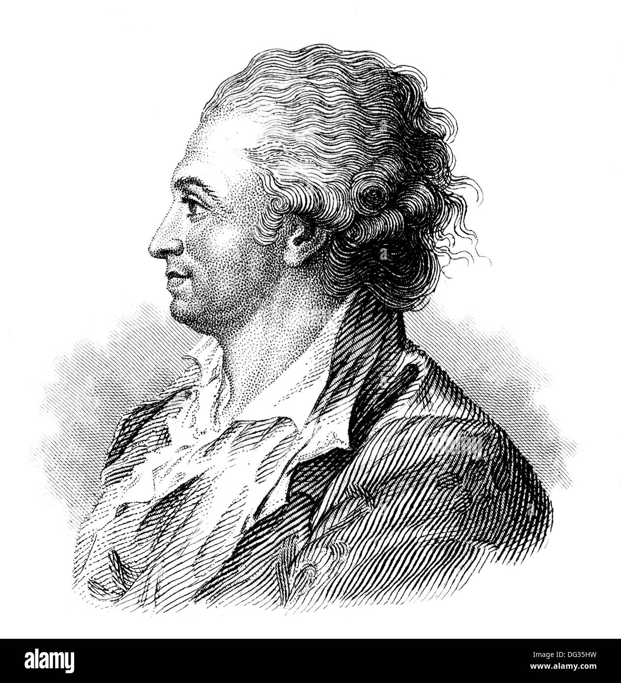 Pierre-Augustin Caron de Beaumarchais, 1732 - 1799, a French entrepreneur and writer, - Stock Image
