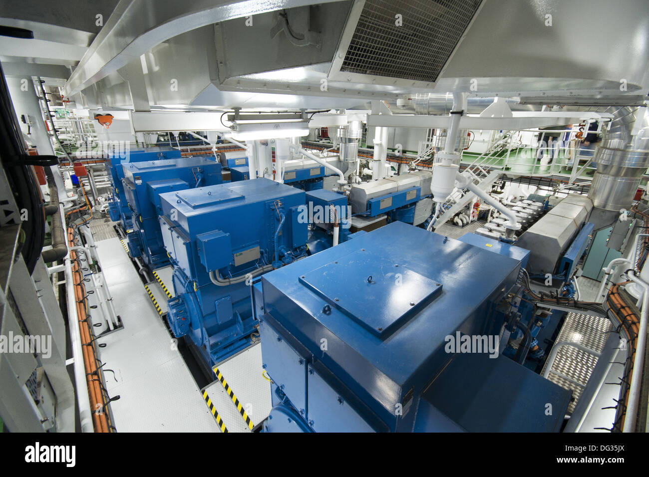 The engine room of the RRS Discovery research ship vessel Southampton, Hampshire, England, UK - Stock Image