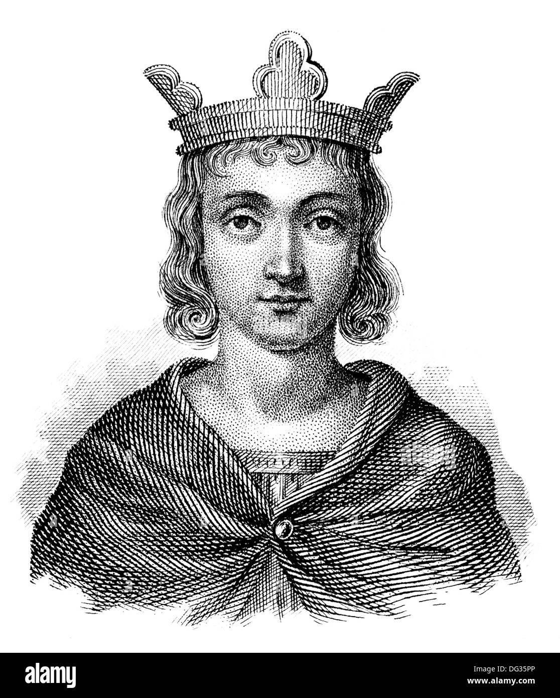 Conrad or Conradin, 1254-1268, the Duke of Swabia, as Conrad IV King of Jerusalem - Stock Image