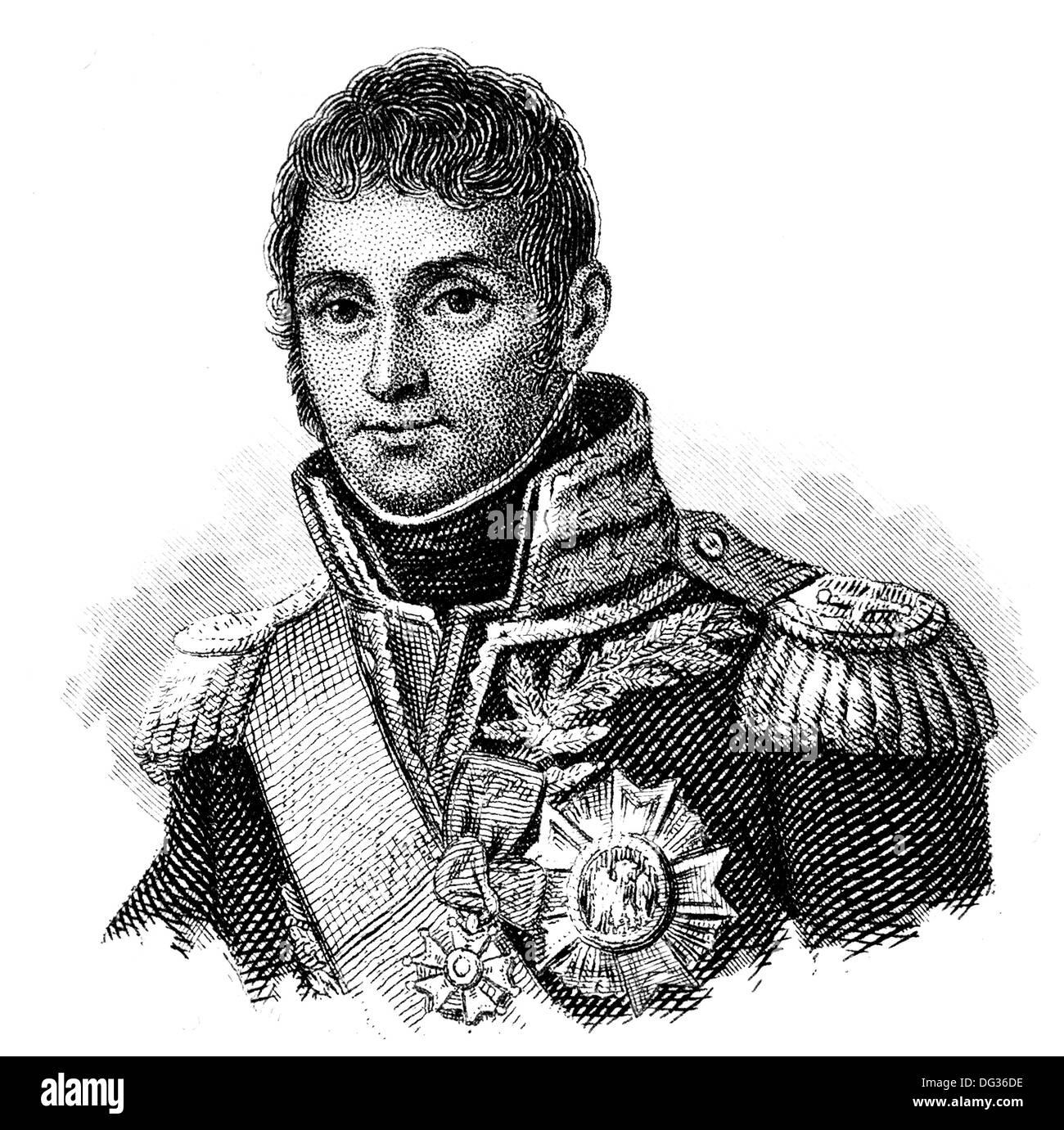 André Masséna or Andrea Massena, 1st Duc de Rivoli, 1st Prince d'Essling, 1758-1817, a French military commander during the Revo Stock Photo