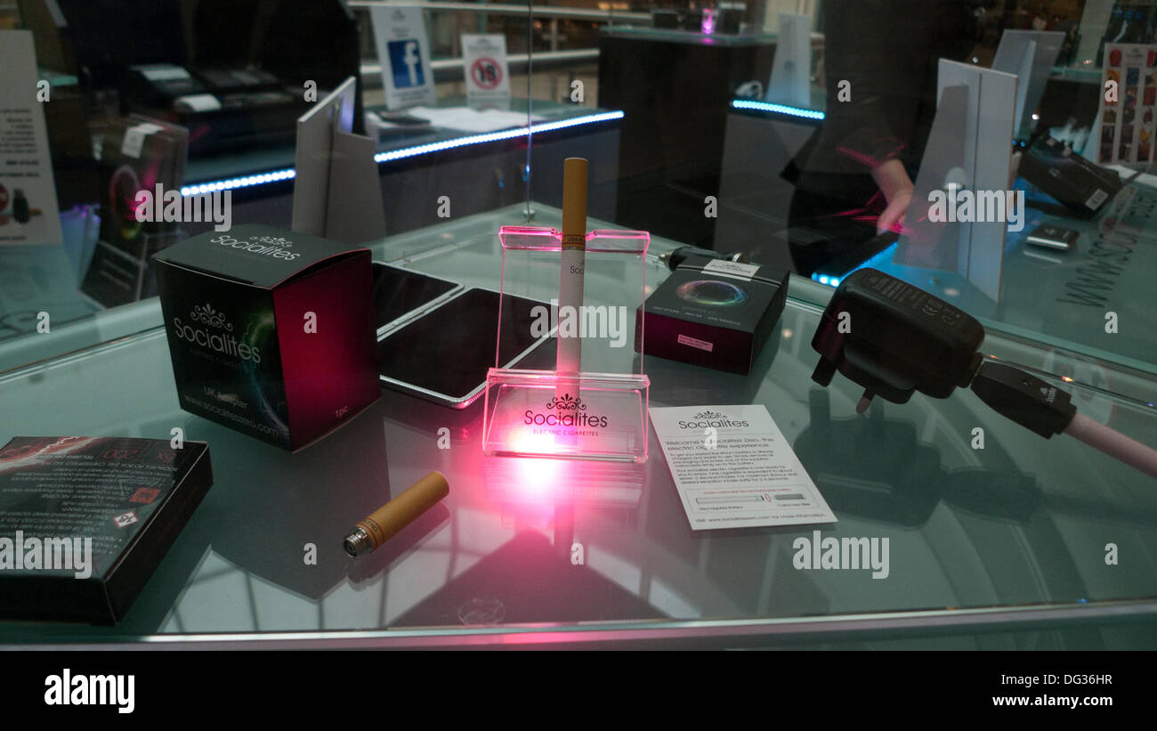 Socialite e-cigarette retail sales display in shopping centre Cardiff Wales UK  KATHY DEWITT - Stock Image