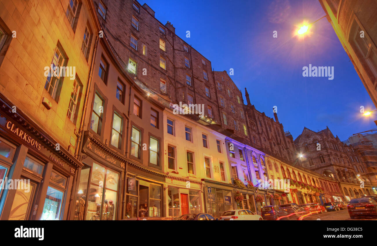 View from the foot of Victoria Street Edinburgh City Scotland UK at dusk Night Shot Stock Photo