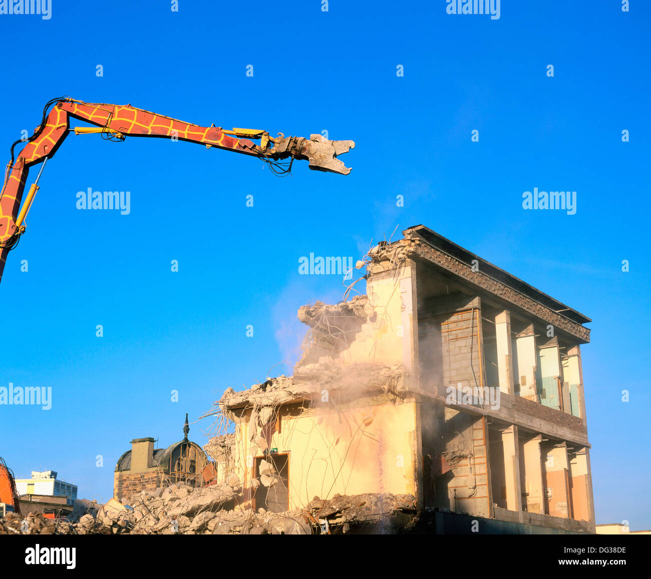 Shopping complex being demolished - Stock Image