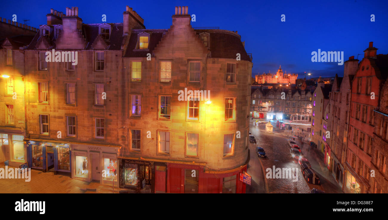 View over city from Victoria Street Edinburgh City Scotland UK at dusk Night Shot Stock Photo