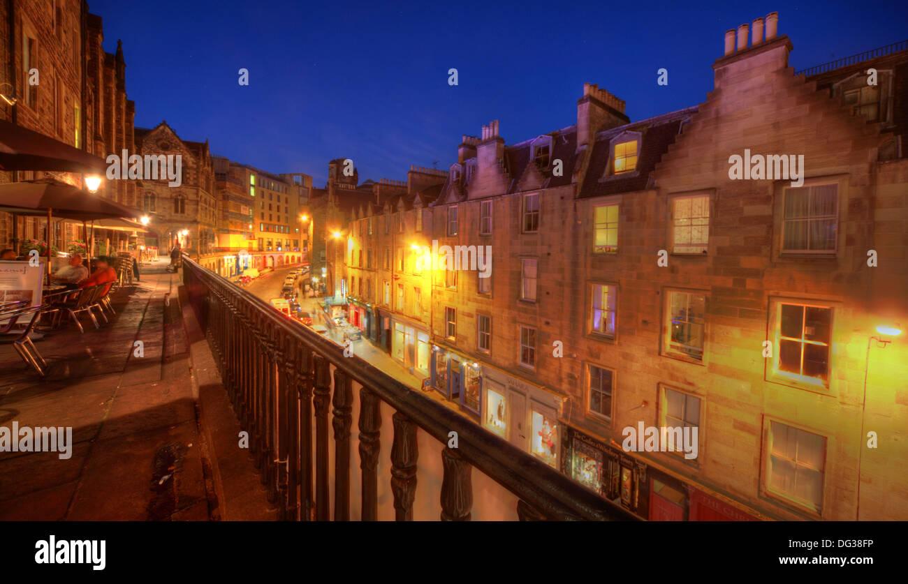 Victoria Street Edinburgh City Scotland UK at dusk Night Shot - Stock Image