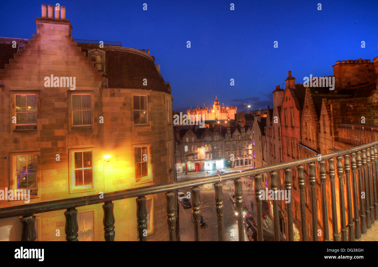 Victoria Street Edinburgh City Scotland UK at dusk Night Shot - Stock Image